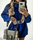 ZARA WOOL BLEND BLUE OVERSIZED ROLL NECK TURTLENECK SWEATER KNITTED JUMPER DRESS