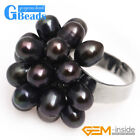 6-7mm Freshwater Pearl Silver Plated Ring US #7- #6 Black White Purple Pink