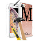 Personalised INITIALS/NAME MARBLE Design Hard Case + Glass for Various Models-50