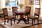 Dining Room Furniture 5pc Set Pedestals Round Table & Upholstered Seat Chairs