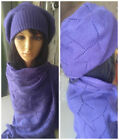 Pure Wool Scarf and Hat Set Lace Knit Scarf 200x80 Scarf Wrap