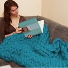 Home Decor Handmade Thick Knitted Blanket Wool Chunky Line Yarn Merino Throw US image