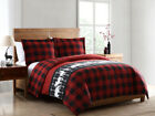 Holiday Season Cabin Lodge Red Black Plaid Reversible 3 pcs King Queen Comforter image
