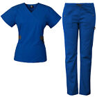 Medgear 12-Pocket Women's Scrub Set with Silver Snap Detail & Contrast Trim 7897
