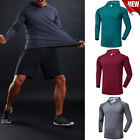 Men's Slim Fit Long Sleeve Sports Shirts Muscle Tops Hoodie Casual Basic T-shirt image