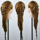 100% 26 Real Human Hairdressing Training Head Mannequin Cos Makeup Doll+Clamp
