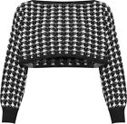 Womens Knitted Houndstooth Cropped Jumper Ladies Baggy Long Batwing Sleeve Top