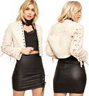 Womens Lace Up Eyelet Long Sleeve Short Open Top Ladies Cropped Suede Jacket