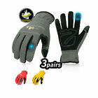 Vgo 3 Pairs Flex Grip Leather Work Gloves Stretchable Nubuck Leather Men Gloves