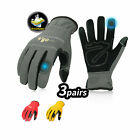 Vgo 3Pairs Flex Grip Leather Work Gloves, Light duty Mechanic Gloves(NB7581)