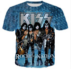 women's/men's KISS Funny 3D graphic print Short Sleeve T-Shirt Casual Tops B3 image