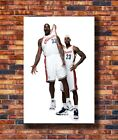 B-115 Shaquille O'Neal VS Lebron James Basketball Star Silk 36x24 18x12 Poster