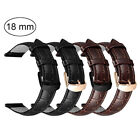 For 18mm Wtach Band Quick Release Leather Watch Strap Metal Clasp Women Men image