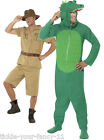 Mens 2 in 1 Safari Man & Crocodile Fancy Dress Costume Dundee Steve Irwin Stag