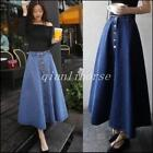 Vintage Women Fashion A-line High Waist Long Midi Denim Flare Party Skater Skirt