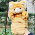 26cm Gray And Brown Cat Plush Hand Puppet Intellectual Animal Theater For Babies