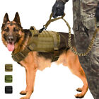 K9 Dog Nylon Military Tactical Vest w/Leash Molle Canine Harness Training Large