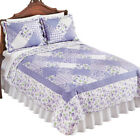 Tranquil Lavender Floral Diamond Patchwork Quilt, by Collections Etc image