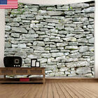 US 3D Stone Brick Decorative Tapestry Wall Hang Living Room Home Decoratio GIFT