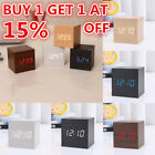 Voice Control Wood Wooden Cube Square LED Digital Alarm Desk Clock Thermometer Y
