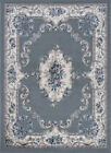 Gray Garland Scrolls Petals VInes Traditional-European Area Rug Floral HMP3909