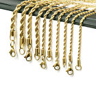 24K Gold Plated Stainless Steel Men Lady French Rope Chain Necklace 2-5mm 20-30