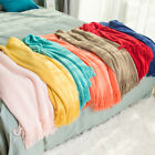 INS Simple Solid Color Throw Blanket Tassel Travel Adult Child Warm Cozy Soft image