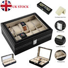 24 Grids Faux Leather Watch Case Display Box Jewellery Gift Collection Holder Uk