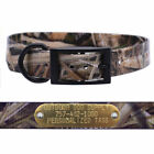 """1"""" Mossy Oak Grass Camo D Ring Dog Collar with Custom Name Tag ID Plate"""