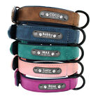 Soft Velvet Personalised Dog Collar Leather Pet Name ID Brown Blue Pink Purple