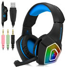 3.5mm Gaming Headset MIC LED Headphones for PC SW Laptop PS4 Slim Xbox One X S