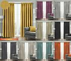 Thermal Ready Made Pencil Pleat Curtains Textured Semi Plain Dim Out Pair