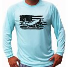 American Flag Bass Long Sleeve UPF 30 T-Shirt Sport Boat Fishing UV Protected