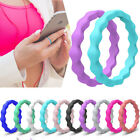 Women Silicone Ring Rubber Wedding Band 10 PACKS Set Stackable Twist Size 5-9