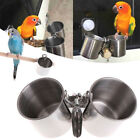 Food Water Feeding Bird Cups With Clip Stainless Steel Parrot Cage Stand Nice