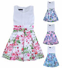 Girls Floral Skater Dress Kids Party Dresses Age 3 4 5 6 7 8 9 10 11 12 13 14 Yr