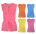 Girls Playsuit Summer Jumpsuit Kids New Cotton Romper Shorts Top Age 2-12 Years