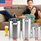 2/4/5L Mini Keg Beer Growler Stainless Steel Barrel Bottle with Spiral Cover Lid