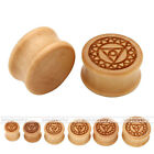 Chakra Double Flared Solid Wood Ear Saddle Plug Studs Piercings Expander Earring