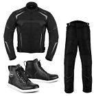 Mens Motorcycle Clothing Riding Suits Jacket Trousers Causal Leather Sneakers