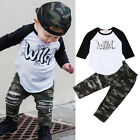 US Fashion Toddler Baby Boy Clothes Top Shirt Camouflage Ripped Pants Outfit XIA