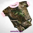 REALTREE CAMOUFLAGE & PINK BABY DIAPER SHIRT - INFANT SNAP SHIRT, CAMO