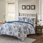 Cottage Navy White Floral Cotton 3 pcs Quilt Coverlet Cal King Queen Set image