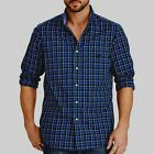Mens Chaps Long Sleeve Button Up Dress Shirt Green Blue  Plaid Large Xlarge