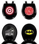 Black Round Toilet Seat Molded Wood with Novelty Comic Theme Decal on Seat Lid