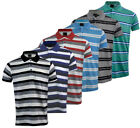 Mens Short Sleeve Striped Polo Shirt Golf Top Casual Cotton Mix Pocket M-5XL