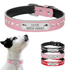 Rhinestone Personalised Dog Collars Custom Leather Pet ID Collar Name Engraved