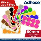 Adheso 50mm Coloured Dot Stickers Round Sticky Dots Adhesive Circles Labels