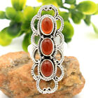 Royal Bali Style Carnelian Gemstone 925 Sterling Silver Ring Size 6 to 10 us