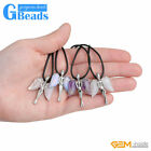 Assorted Gemtones Zinc Alloy Angel Wing Pendant Leather Necklace 19'' Girls Gift